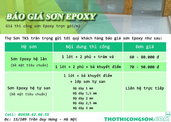 Báo giá sơn Epoxy - giá thi công sơn epoxy trọn gói/m2